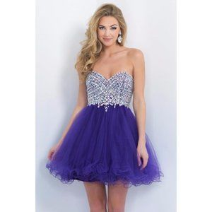 Blush Prom Strapless Purple Embellished Gem Dress